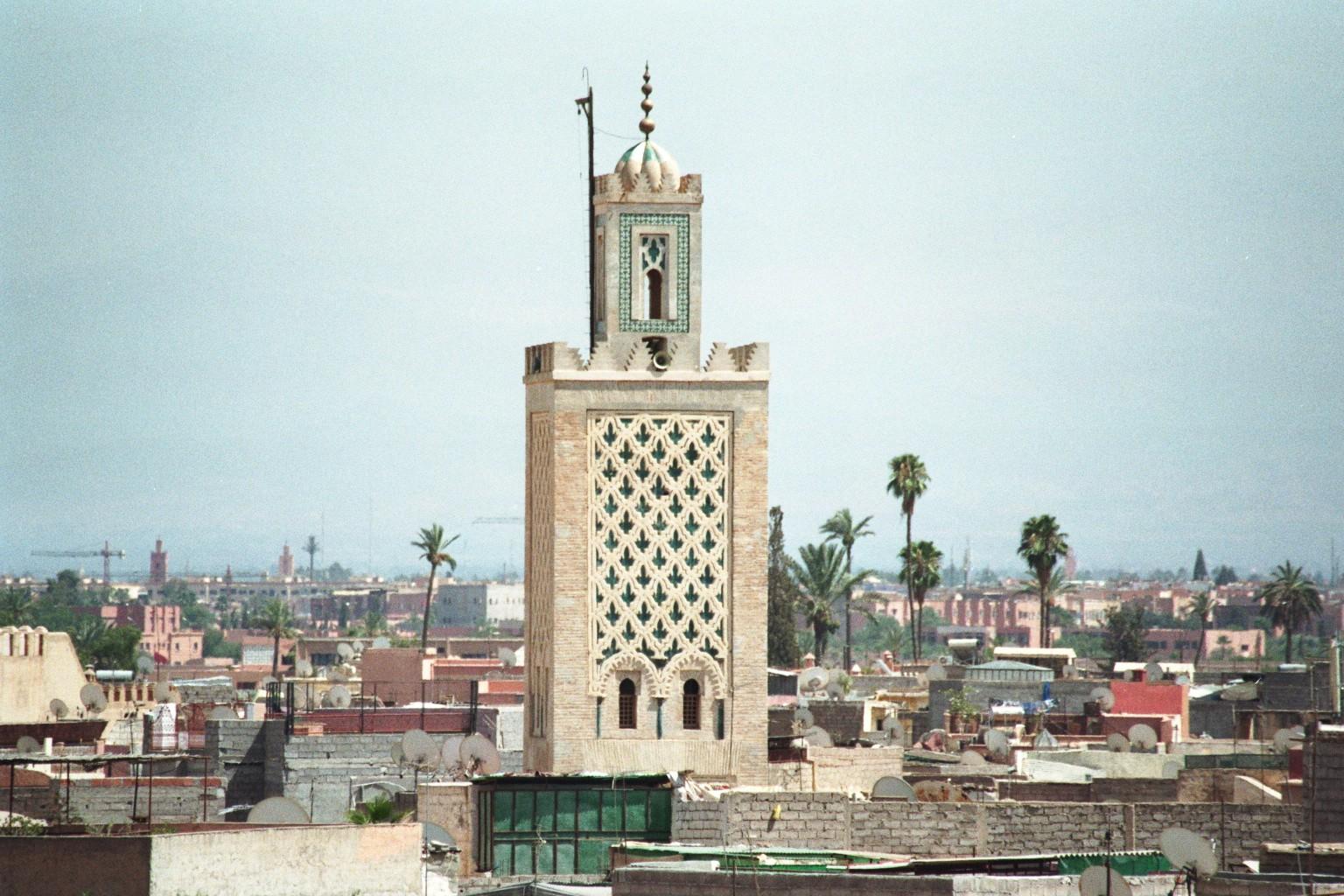 Minarett in Marrakesch vom Maison De La Photographie fotografiert